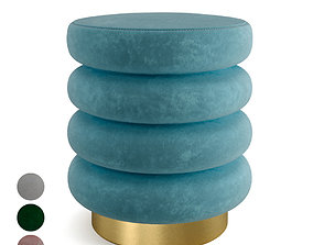 Textured Velvet Ottoman with Gold Finish Stainless 3D 1