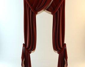 3D Elegant Red Curtains
