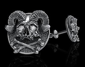 3D printable model pendant skull cufflinks