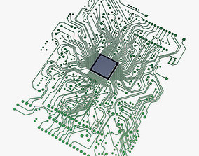 3D model game-ready Electronic circuit board v 1