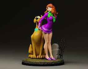 3D printable model Daphne and Scooby-Doo diorama
