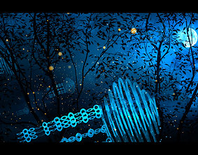 Fireflies in the forest at night 003 3D model