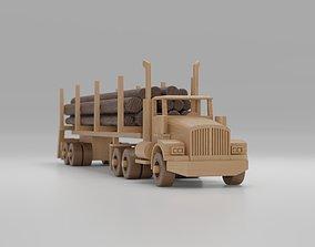 Wooden Toy Logging Truck Semi Trailer 3D model toy