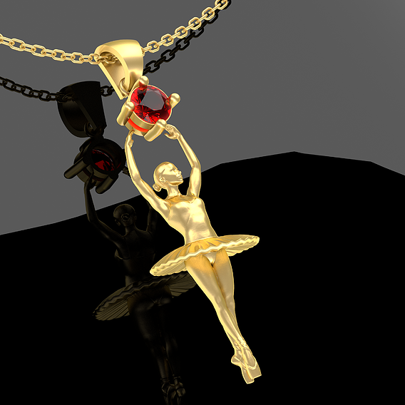 Ballerina Figurine Pendant Jewelry Gold 3D print model
