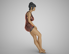 Woman Leaning on Bench 3D printable model