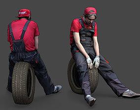 3D model Stylized Car Mechanic Character resting