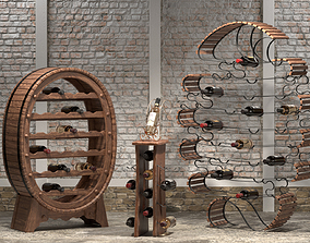 Wooden wine stands 3D