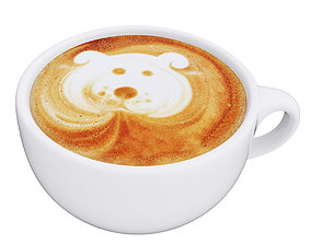 Latte coffee cup Dog 3D