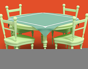 Cute Chair and Table Set 3D asset