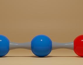 3D model Nitrous Oxide N2O Molecule