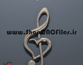 heart shaped treble clef pendant 3d model