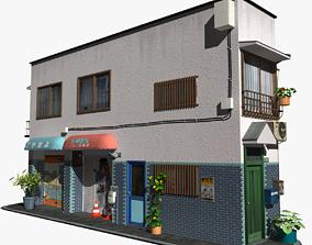 Japanese Corner Building 3D asset
