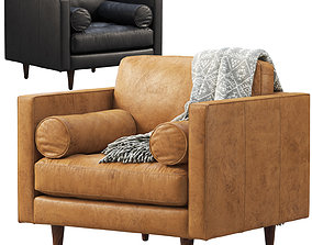 3D model Joybird Briar Leather Chair brown and black