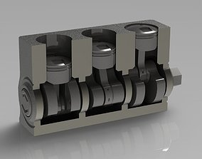 3D printable model Three-Cylinder Engine