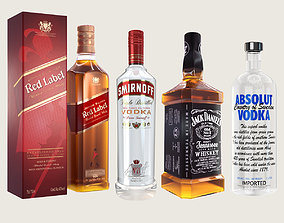 3D model low-poly Alcohol Bottle Vodka Whisky Collection