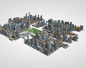 over 50 buliding city lowpoly 3D model
