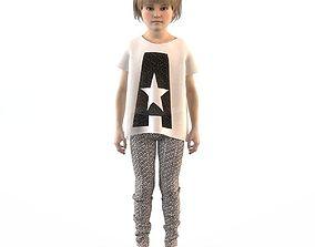Girl dress t shirt skirt Baby clothes baby 3D model