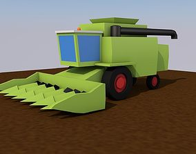 VR / AR ready LowPoly 3D Harvester wheat and corn for 3