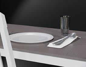 3D asset Silverware Set with Cup