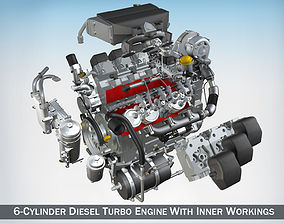 Diesel Turbo Engine with Interior Parts 3D