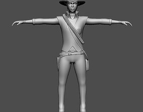 3D asset low-poly Cowgirl Ken Ronans girl friend AAA