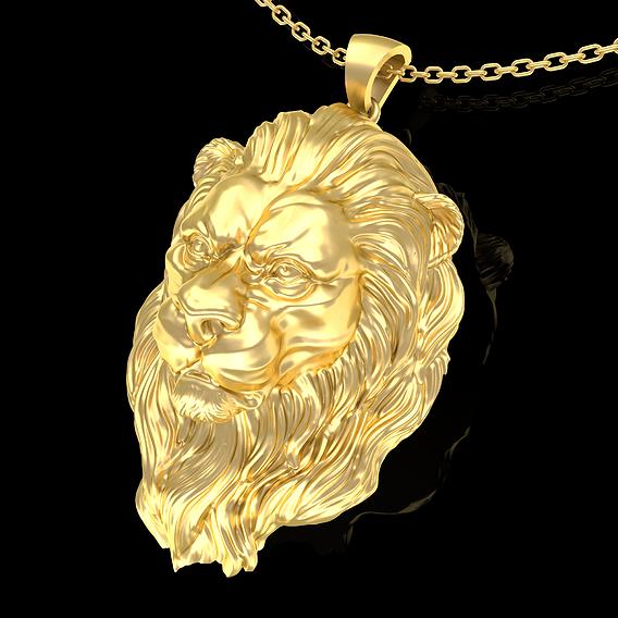 Lion Head Pendant Jewelry Gold 3D print model