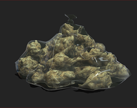 Low Poly Large Weed Pouch 3D model