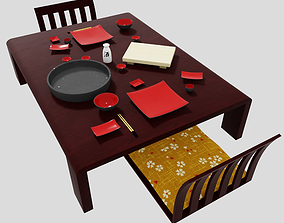 Japanese earhetnware pottery dining set with 3D model 1