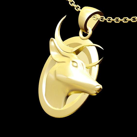 Deer head Pendant jewelry Gold 3D print model