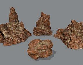 Rock Set 3D asset game-ready forest