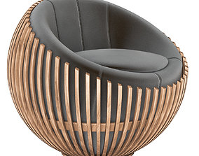 3D Attractive round chair on low revolving base armchair