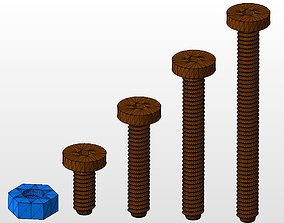 3D printable model m6 screws and nut collection