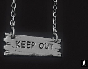 Keep Out Wooden Sign 3D model