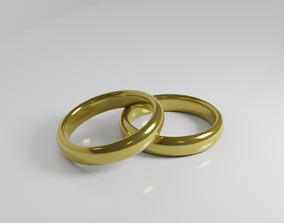 Two realisitc Golden Wedding Rings 3D model