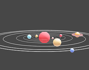 animated A beautiful solar system 3d model