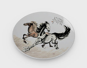 3D model Chinese Porcelain Dinner Plate - Horse Painting