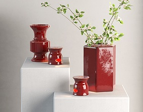 3D Candle Holders Vases and Flowers