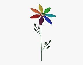 3D asset Rainbow cartoon flower