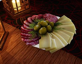 3D asset Cheese and meat cuts Norvedem food