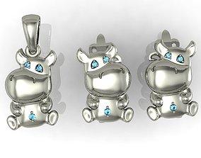 earring and pendant little hippo 3D print model