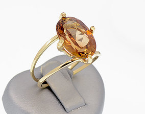 Minimal ring - Oval Sotne - Fashion ring 3D print model