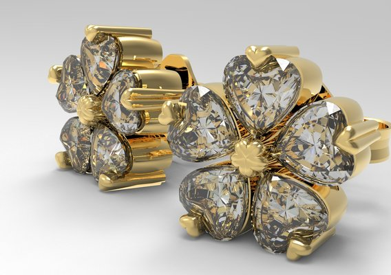 Gemstone Flower Stud Earrings 3D print model