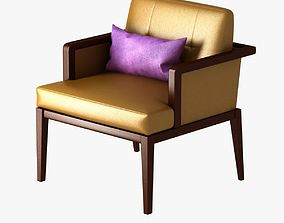 yellow chair with violet cushion 3D model