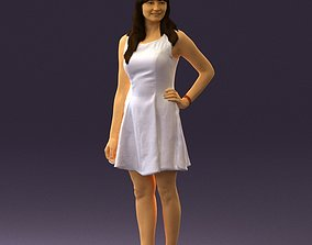 Woman in white dress 0451 3D print model