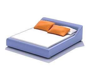 lilac Modern Double Bed 3D model