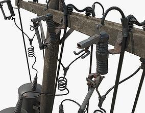 Broken Utility Pole 3D asset