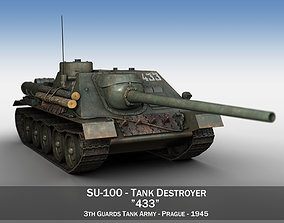 SU-100 - 433 - Soviet Tank Destroyer 3D model wwii