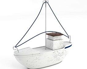 White Model Boat 3D