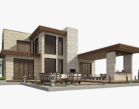 3D house modern wood