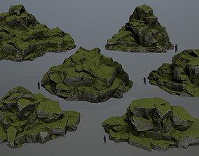 dune mossy 3D asset game-ready rocks